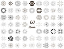 Set of abstract design element. Round mandalas in . Graphic template for your design. Decorative retro ornament. Hand drawn. Background with flowers Stock Images