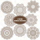 Set of abstract design element. Round mandalas in vector. Graphi Royalty Free Stock Photos