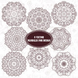 Set of abstract design element. Round mandalas in vector. Graphic template for your design. Decorative retro ornament. Hand drawn Stock Image