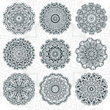 Set of abstract design element. Round mandalas in vector. Graphic template for your design. Decorative retro ornament. Hand drawn Royalty Free Stock Image