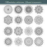 Set of abstract design element. Round mandalas in vector. Graphic template for your design. Decorative retro ornament. Hand drawn Stock Photography