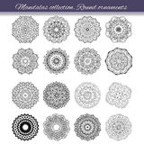 Set of abstract design element. Round mandalas in vector. Graphic template for your design. Decorative retro ornament. Hand drawn Royalty Free Stock Photography