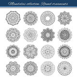 Set of abstract design element. Round mandalas in vector. Graphic template for your design. Decorative retro ornament. Hand drawn Royalty Free Stock Images