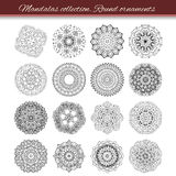 Set of abstract design element. Round mandalas in vector. Graphic template for your design. Decorative retro ornament. Hand drawn Royalty Free Stock Photos