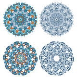 Set of abstract design elements. Round mandalas in vector. Graphic template for your design. Decorative retro ornament. Stock Photography