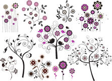 Set of abstract design floral elements. All elements and textures are individual objects. Vector illustration scale to any size Stock Photography