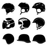 Set of abstract design of helmet, casque, headpiec. E and cap for driving, sport, police, army, horse-riding, baseball on white background Stock Photos