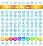 Set 100 Abstract Diamond Icons. Royalty Free Stock Photos