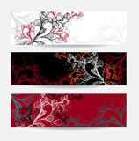 Set abstract doodle banners white red black Stock Photo
