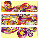 Set of abstract doodle tribal vector cards. Royalty Free Stock Photo