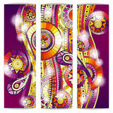 Set of abstract doodle tribal vector cards. Royalty Free Stock Photography