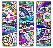 Set of abstract doodle tribal vector cards. Stock Photos