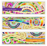Set abstract doodle  vector cards on wood Royalty Free Stock Photo