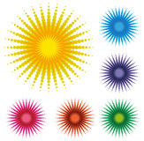 Set Of Abstract Dot Sun Stock Photography