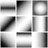 Set of abstract dotted background. Halftone effect. Vector texture. Modern background. Monochrome geometrical pattern. Strips of p Stock Photo