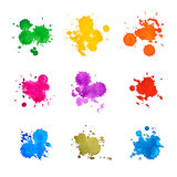 Set of Abstract Drops. Watercolor Hand Drawn and Painted, Isolated on White Royalty Free Stock Photos