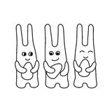 Set of abstract easter rabbits with Easter eggs contour monochro Royalty Free Stock Photography