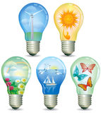 Set of abstract eco lamp. Illustration of ecological light bulbs with nature inside. EPS 10. Contains transparent objects Stock Photography