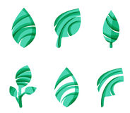 Set of abstract eco leaf icons, business logotype. Nature concepts, clean modern geometric design. Created with transparent abstract wave lines Stock Images