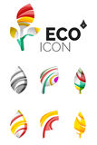 Set of abstract eco leaf icons, business logotype. Nature concepts, clean modern geometric design. Created with transparent abstract wave lines Royalty Free Stock Photography