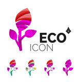Set of abstract eco leaf icons, business logotype Stock Image