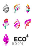 Set of abstract eco leaf icons, business logotype. Nature concepts, clean modern geometric design. Created with transparent abstract wave lines Stock Photos