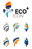 Set of abstract eco leaf icons, business logotype. Nature concepts, clean modern geometric design. Created with transparent abstract wave lines Royalty Free Stock Photos