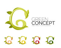 Set of abstract eco plant icons, business logotype Royalty Free Stock Photo