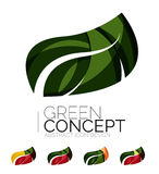 Set of abstract eco plant icons, business logotype. Nature green concepts, clean modern geometric design. Created with transparent abstract wave lines Stock Images