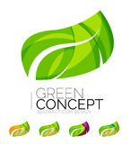 Set of abstract eco plant icons, business logotype Stock Image