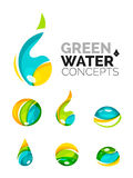 Set of abstract eco water icons, business logotype. Nature green concepts, clean modern geometric design. Created with transparent abstract wave lines royalty free illustration