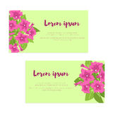Set of abstract elegance cards with pink petunias for wedding invitation, marriage card, congratulation banner, advertise Stock Image