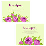 Set of abstract elegance cards with purple peonies for wedding invitation, marriage card, congratulation banner, advertise Royalty Free Stock Images