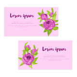 Set of abstract elegance cards with purple peonies for wedding invitation, marriage card, congratulation banner, advertise Stock Photos