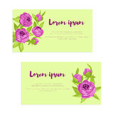 Set of abstract elegance cards with purple peonies for wedding invitation, marriage card, congratulation banner, advertise Royalty Free Stock Image