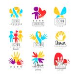 Set of abstract emblems with ribbons, humans and hands. Logos for medical centers. For invitation, charitable fund or. Set of abstract emblems with ribbons Royalty Free Stock Images
