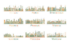 Set of 9 Abstract Europe City Skyline. Vector Illustration. Stock Images