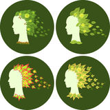 Set of abstract female faces. With floral motifs Royalty Free Stock Image