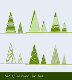 Abstract fir trees and pines. Vector illustration. Set of different abstract fir tree and pine Stock Photos