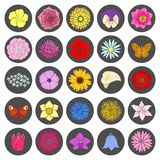 Set of abstract flat flowers. Royalty Free Stock Image