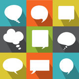 Set abstract flat vector white speech bubbles Stock Images