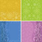 Set abstract floral backgrounds. Symbolical flowers and patterns Vector Illustration