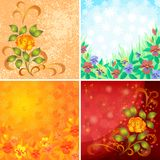Set abstract floral backgrounds. Set Abstract Holiday Floral Backgrounds with Flowers Pansies, Roses and Butterflies. Vector Eps10, Contains Transparencies Stock Photography