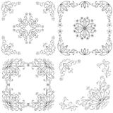 Set abstract floral backgrounds, outline Royalty Free Stock Photo