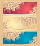 Set Abstract floral banners with flowers shells se Royalty Free Stock Photography