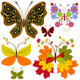Set abstract floral butterflies Stock Photography