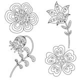Set of abstract floral elements. Hand drawn doodle. Vector illustration Stock Photography