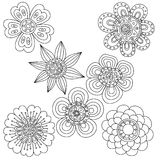 Set of abstract floral elements. Hand drawn doodle. Vector illustration Royalty Free Stock Photo