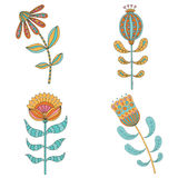 Set of abstract floral elements. Hand drawn doodle. Vector illustration Stock Images