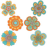 Set of abstract floral elements. Hand drawn doodle. Vector illustration Royalty Free Stock Image